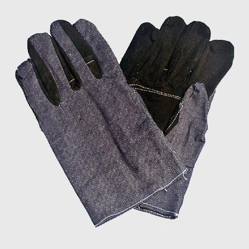 五指加皮牛仔布手套